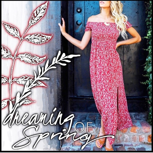 Dresses & Skirts - SALE!! Red maxi floral dress slit off the shoulder